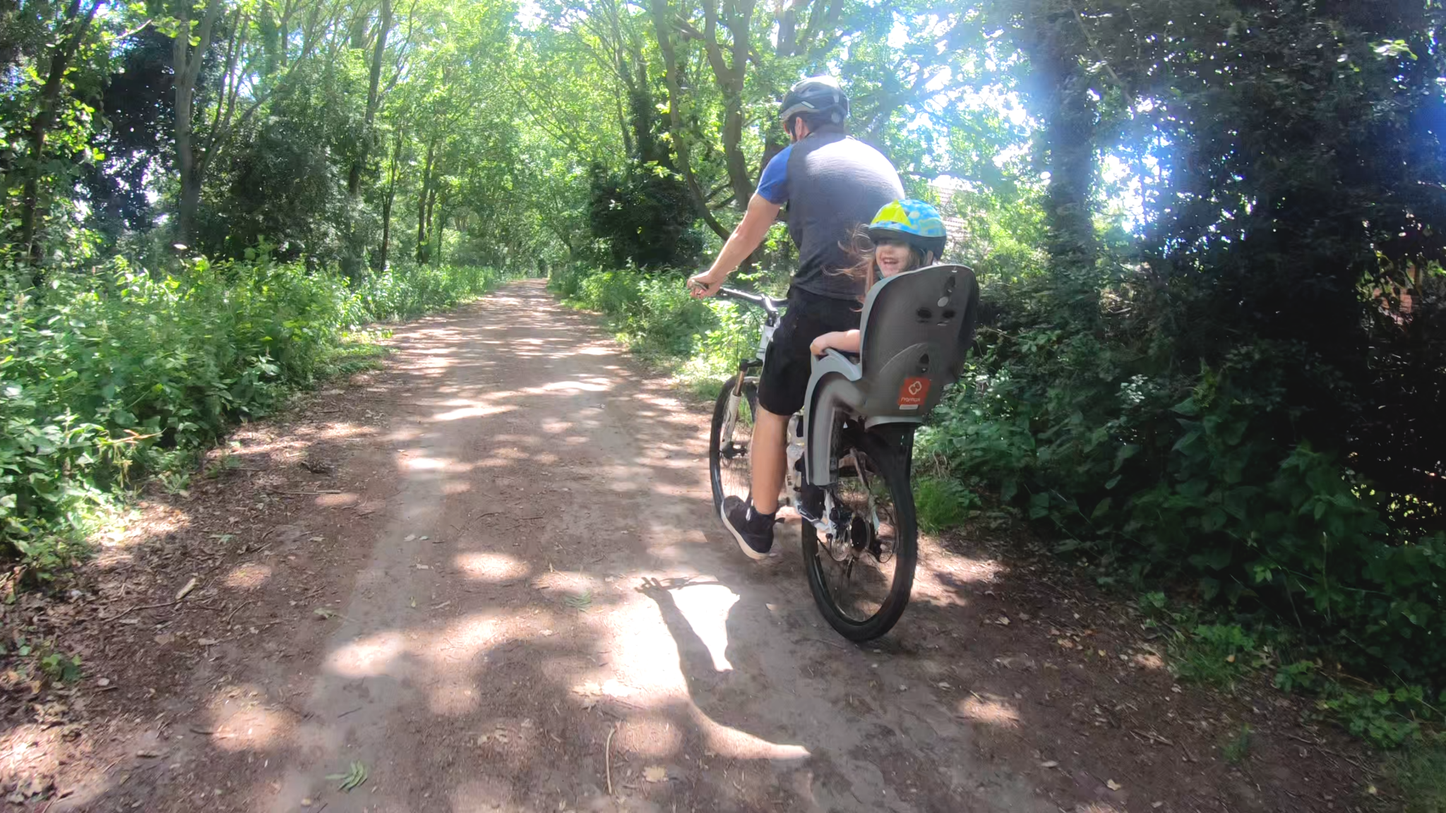 cycling marriotts way with child on bike seat
